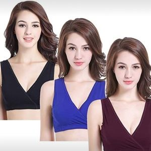 3 Pack Women's Maternity Nursing Bra for Sleep and